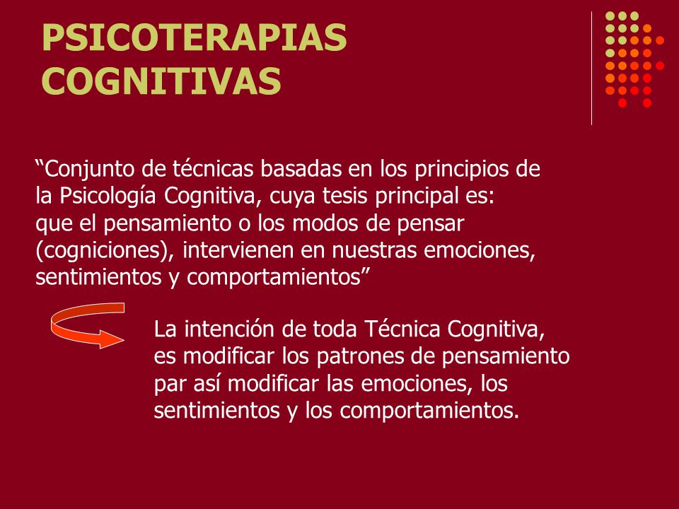 PSICOTERAPIAS COGNITIVAS Conjunto de técnicas basadas en los principios de la Psicología Cognitiva, cuya tesis principal es: que el pensamiento o los modos de pensar (cogniciones), intervienen en nuestras emociones, sentimientos y comportamientos La intención de toda Técnica Cognitiva, es modificar los patrones de pensamiento par así modificar las emociones, los sentimientos y los comportamientos.