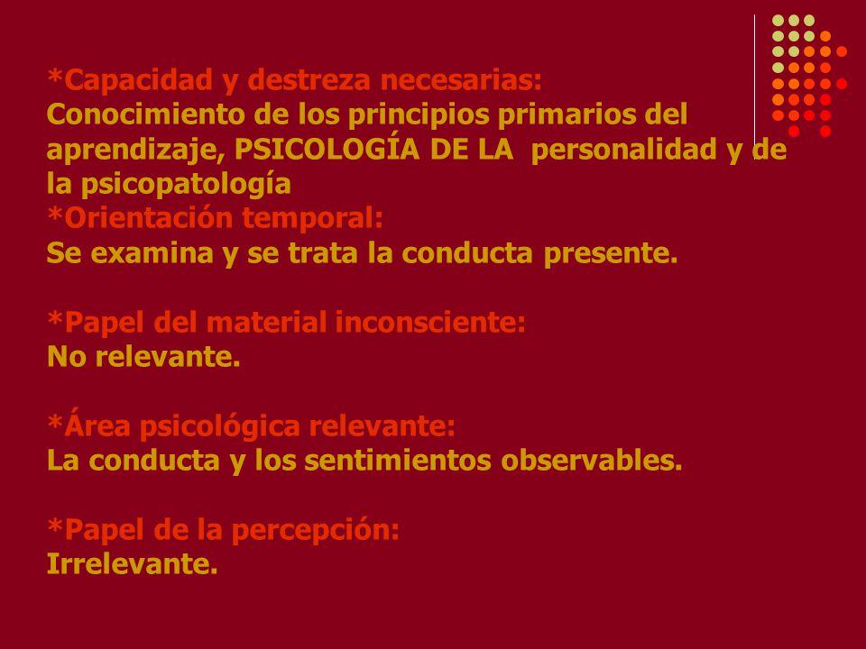 *Capacidad y destreza necesarias: Conocimiento de los principios primarios del aprendizaje, PSICOLOGÍA DE LA personalidad y de la psicopatología *Orientación temporal: Se examina y se trata la conducta presente.