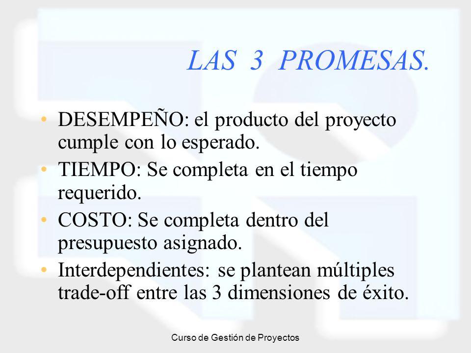 Curso de Gestión de Proyectos LAS 3 PROMESAS. DESEMPEÑO: el producto del proyecto cumple con lo esperado. TIEMPO: Se completa en el tiempo requerido.