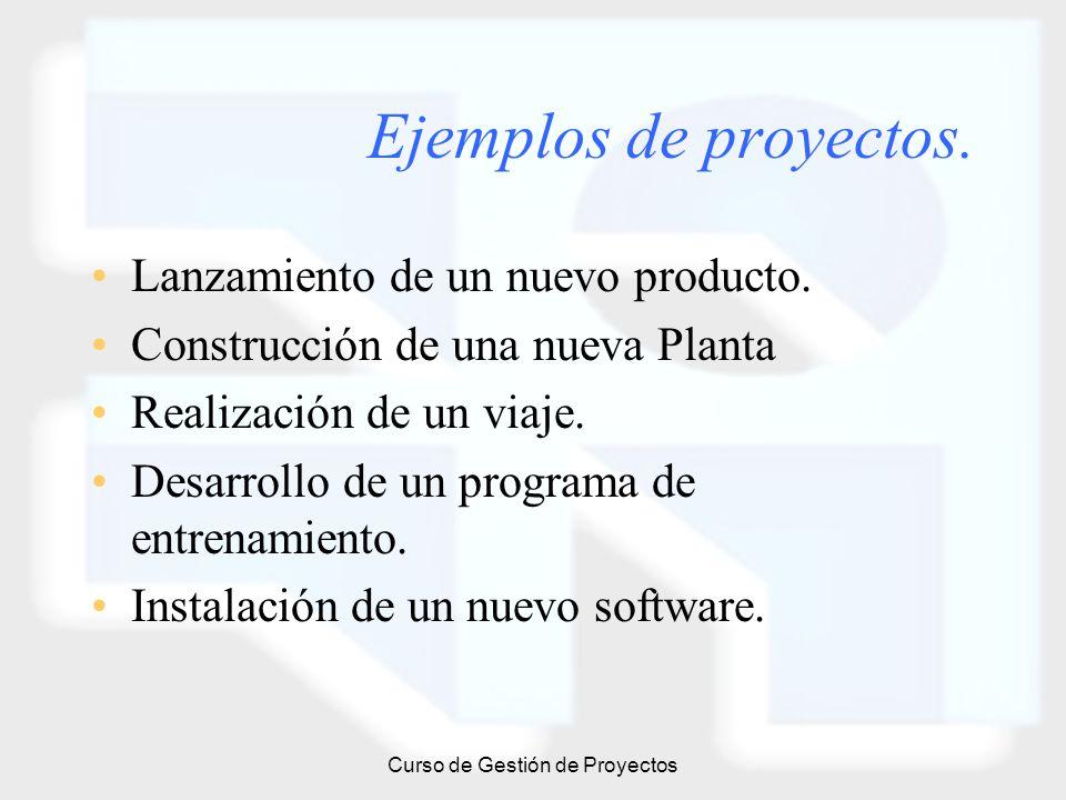 Curso de Gestión de Proyectos Ejemplos de proyectos. Lanzamiento de un nuevo producto. Construcción de una nueva Planta Realización de un viaje. Desar