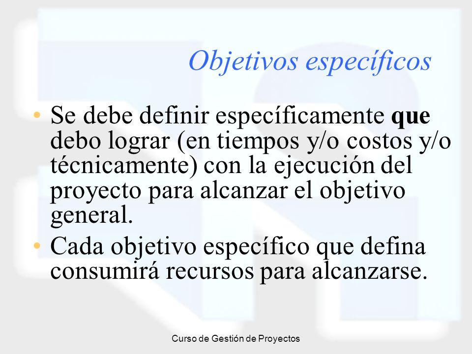 Curso de Gestión de Proyectos Objetivos específicos Se debe definir específicamente que debo lograr (en tiempos y/o costos y/o técnicamente) con la ej
