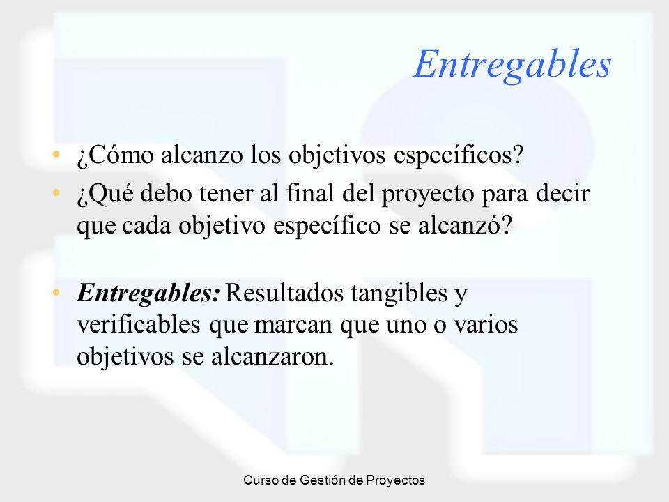Curso de Gestión de Proyectos Entregables ¿Cómo alcanzo los objetivos específicos? ¿Qué debo tener al final del proyecto para decir que cada objetivo