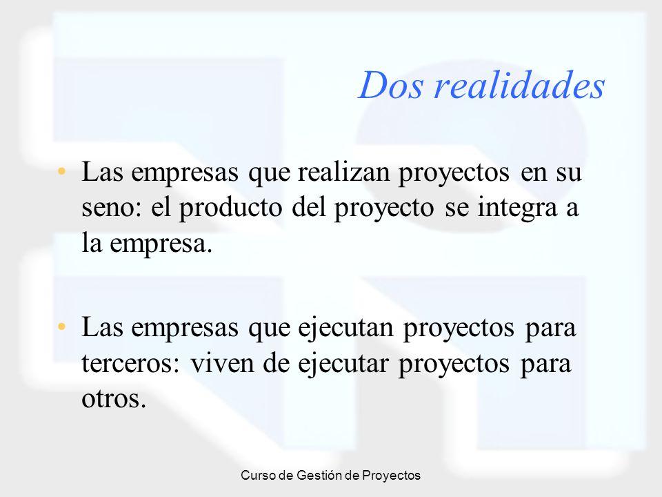 Curso de Gestión de Proyectos Dos realidades Las empresas que realizan proyectos en su seno: el producto del proyecto se integra a la empresa. Las emp