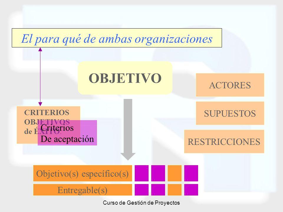Curso de Gestión de Proyectos El para qué de ambas organizaciones OBJETIVO CRITERIOS OBJETIVOS de ÉXITO. SUPUESTOS RESTRICCIONES Objetivo(s) específic
