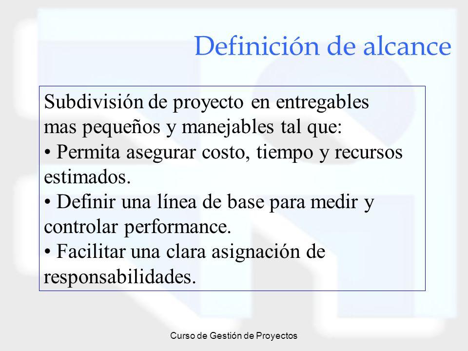 Curso de Gestión de Proyectos Definición de alcance Subdivisión de proyecto en entregables mas pequeños y manejables tal que: Permita asegurar costo,