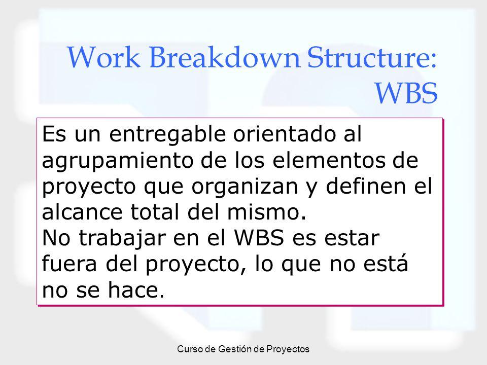 Curso de Gestión de Proyectos Work Breakdown Structure: WBS Es un entregable orientado al agrupamiento de los elementos de proyecto que organizan y de