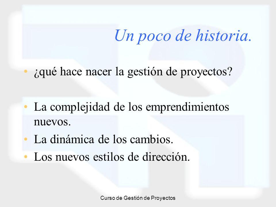 Curso de Gestión de Proyectos Un poco de historia. ¿qué hace nacer la gestión de proyectos? La complejidad de los emprendimientos nuevos. La dinámica