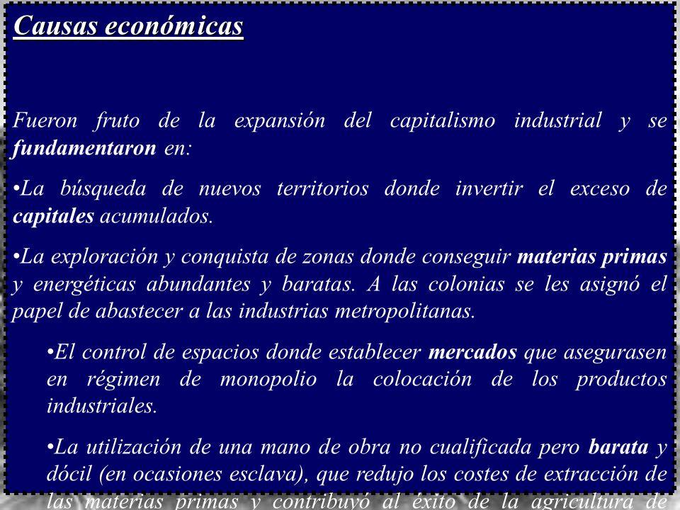 Causas económicas Fueron fruto de la expansión del capitalismo industrial y se fundamentaron en: La búsqueda de nuevos territorios donde invertir el exceso de capitales acumulados.