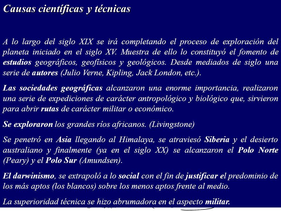 Causas científicas y técnicas A lo largo del siglo XIX se irá completando el proceso de exploración del planeta iniciado en el siglo XV.
