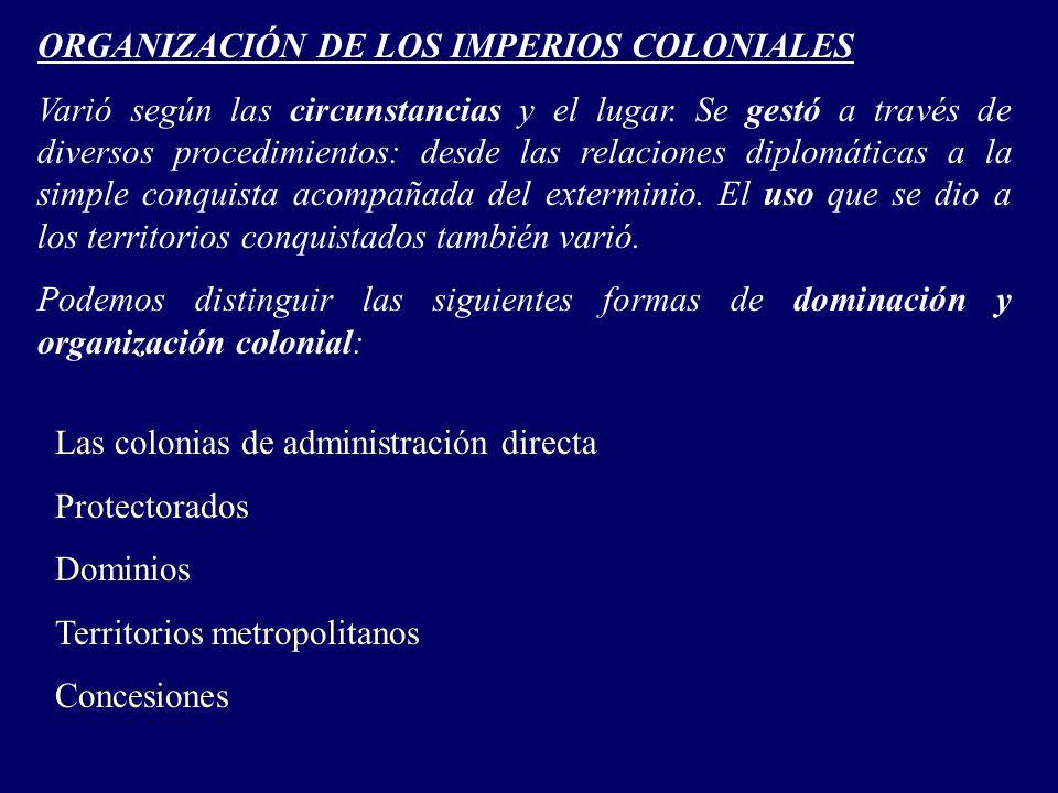 ORGANIZACIÓN DE LOS IMPERIOS COLONIALES Varió según las circunstancias y el lugar.