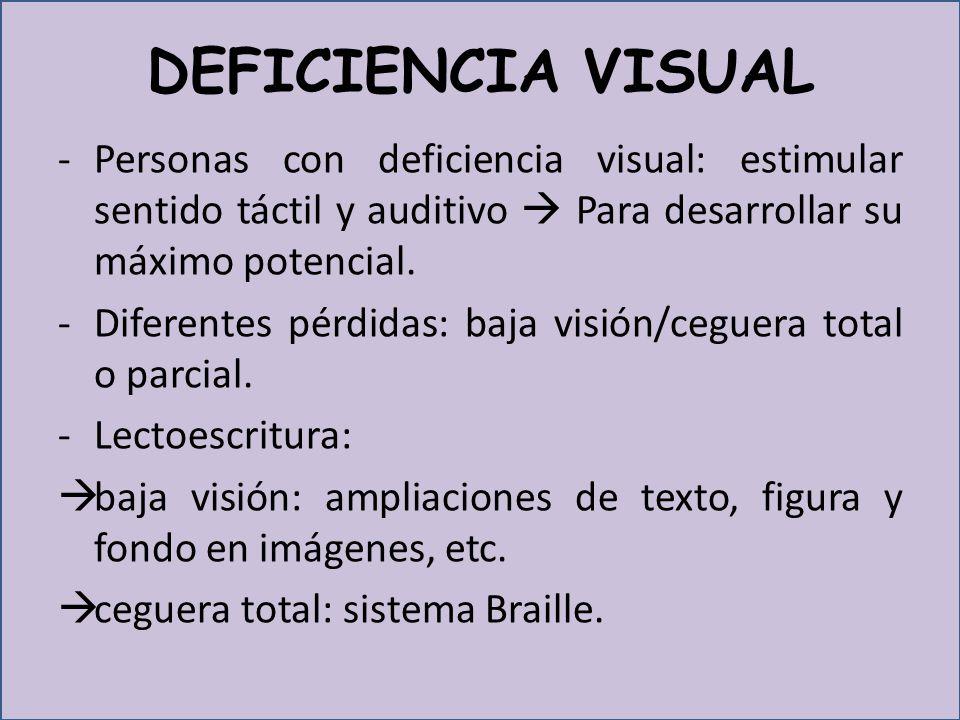 DEFICIENCIA VISUAL -Personas con deficiencia visual: estimular sentido táctil y auditivo Para desarrollar su máximo potencial.