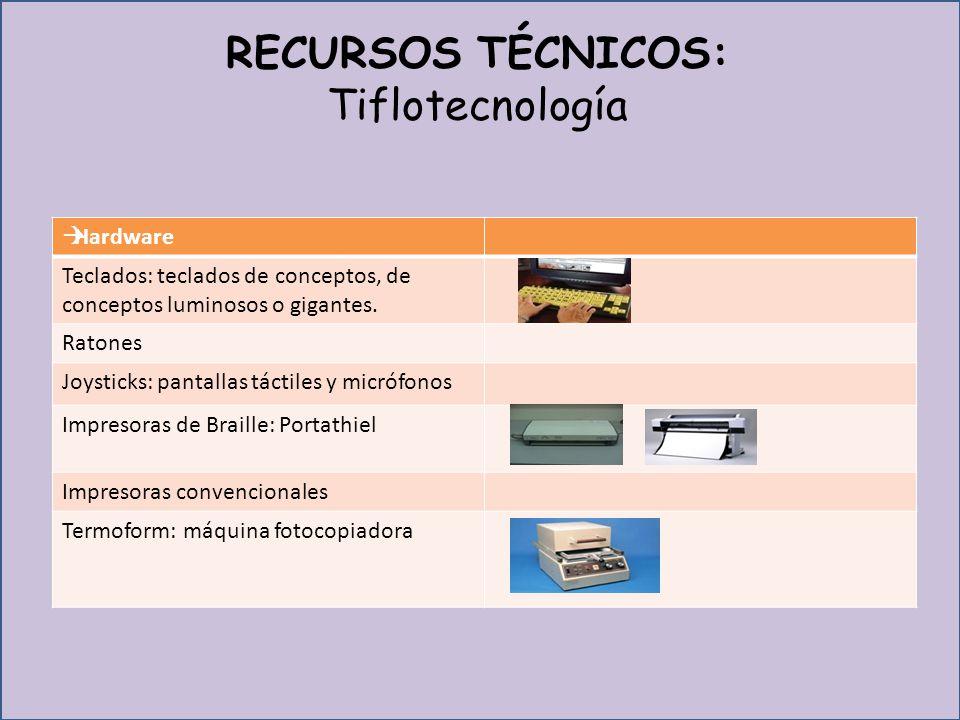 RECURSOS TÉCNICOS: Tiflotecnología Hardware Teclados: teclados de conceptos, de conceptos luminosos o gigantes.