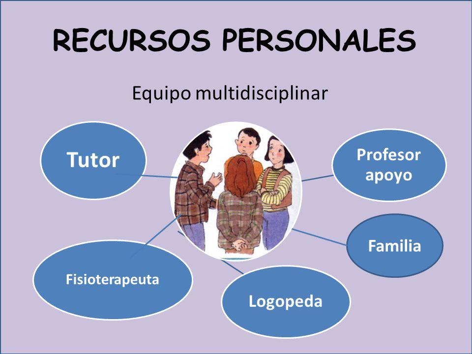 RECURSOS PERSONALES Equipo multidisciplinar Tutor Profesor apoyo Logopeda Fisioterapeuta Familia
