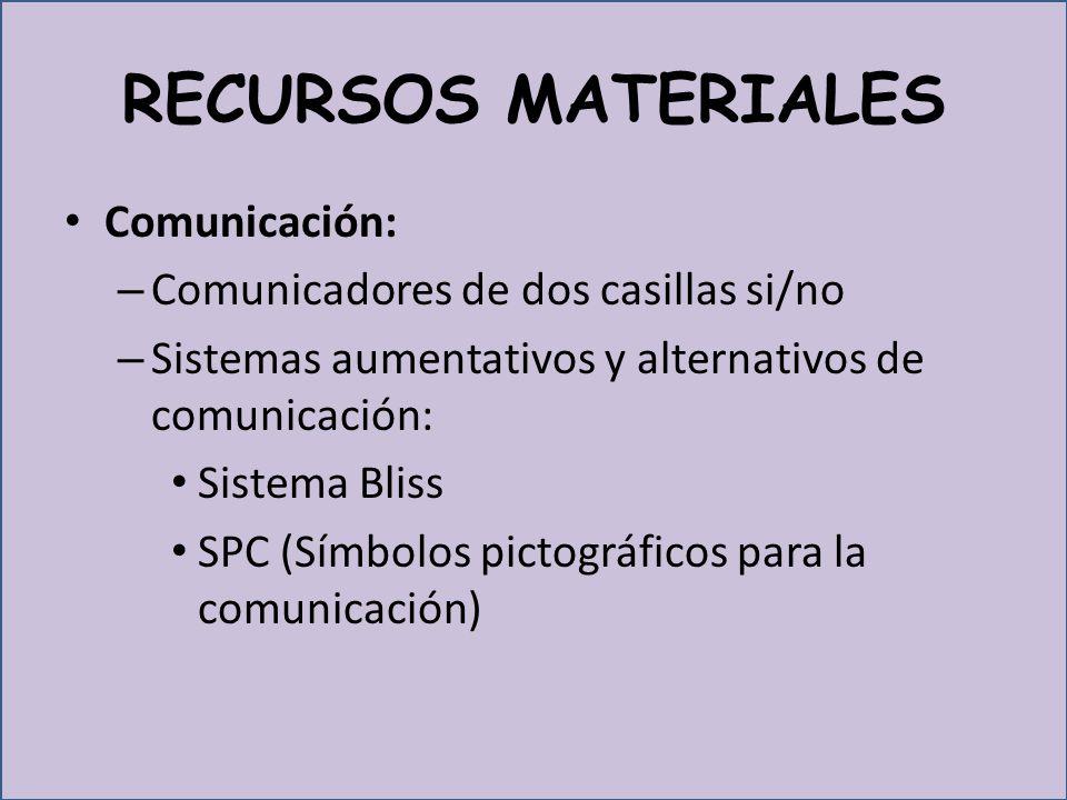 RECURSOS MATERIALES Comunicación: – Comunicadores de dos casillas si/no – Sistemas aumentativos y alternativos de comunicación: Sistema Bliss SPC (Símbolos pictográficos para la comunicación)
