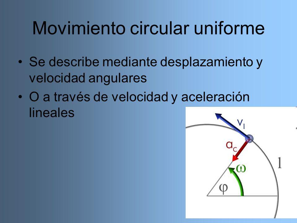 Movimiento circular uniforme Se describe mediante desplazamiento y velocidad angulares O a través de velocidad y aceleración lineales