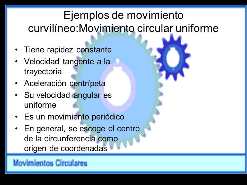Ejemplos de movimiento curvilíneo:Movimiento circular uniforme Tiene rapidez constante Velocidad tangente a la trayectoria Aceleración centrípeta Su v