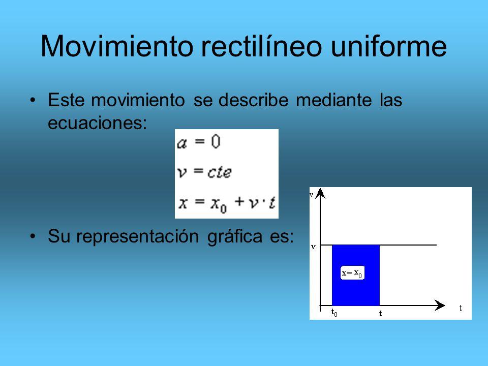 Movimiento rectilíneo uniforme Este movimiento se describe mediante las ecuaciones: Su representación gráfica es: