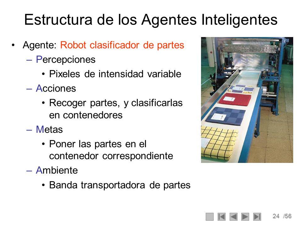 24/56 Estructura de los Agentes Inteligentes Agente: Robot clasificador de partes –Percepciones Pixeles de intensidad variable –Acciones Recoger partes, y clasificarlas en contenedores –Metas Poner las partes en el contenedor correspondiente –Ambiente Banda transportadora de partes