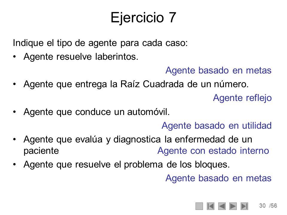 30/56 Ejercicio 7 Indique el tipo de agente para cada caso: Agente resuelve laberintos.