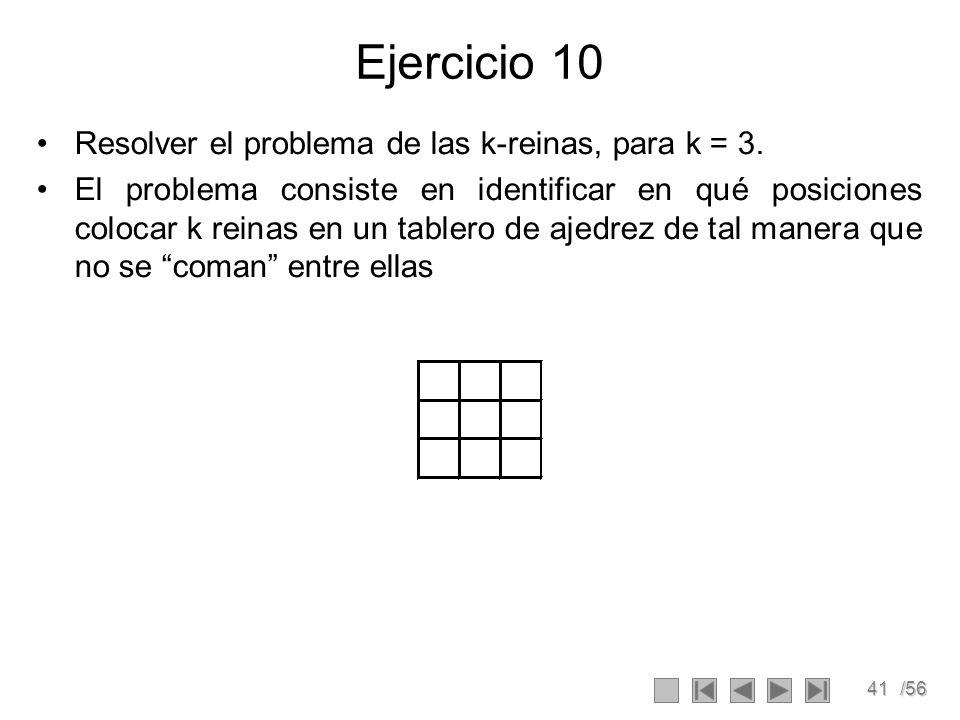 41/56 Ejercicio 10 Resolver el problema de las k-reinas, para k = 3.