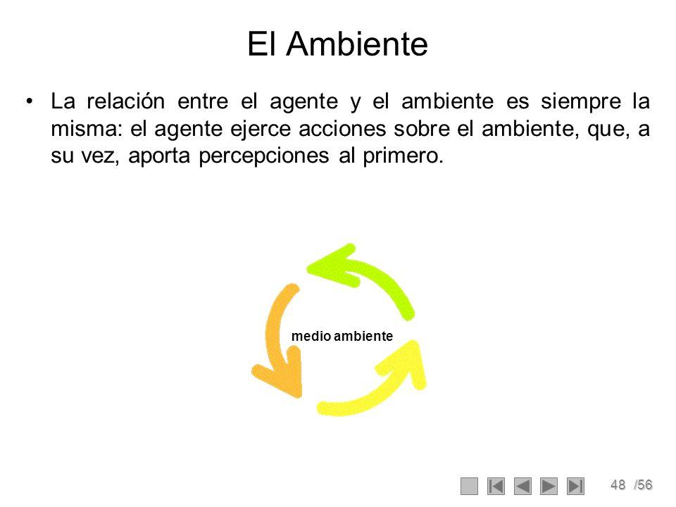 48/56 El Ambiente La relación entre el agente y el ambiente es siempre la misma: el agente ejerce acciones sobre el ambiente, que, a su vez, aporta percepciones al primero.