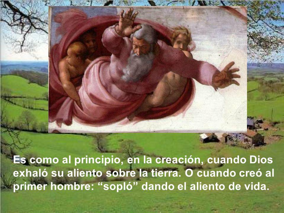 Jesús les da a los apóstoles lo más grande e íntimo que tiene: el alien- to divino, que es su intimidad, su propia vida, su amor. En ese momento en qu