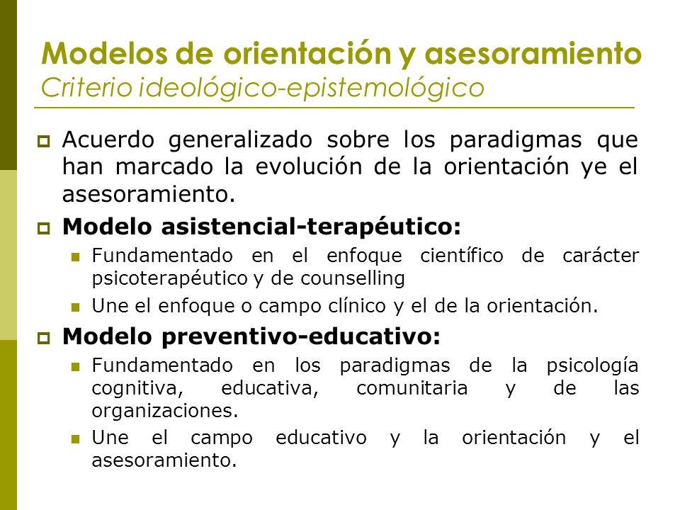 Modelos de orientación y asesoramiento Criterio ideológico-epistemológico Acuerdo generalizado sobre los paradigmas que han marcado la evolución de la