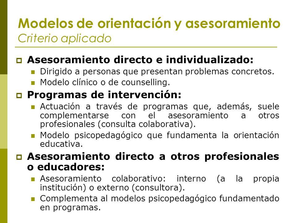 Modelos de orientación y asesoramiento Criterio aplicado Asesoramiento directo e individualizado: Dirigido a personas que presentan problemas concreto