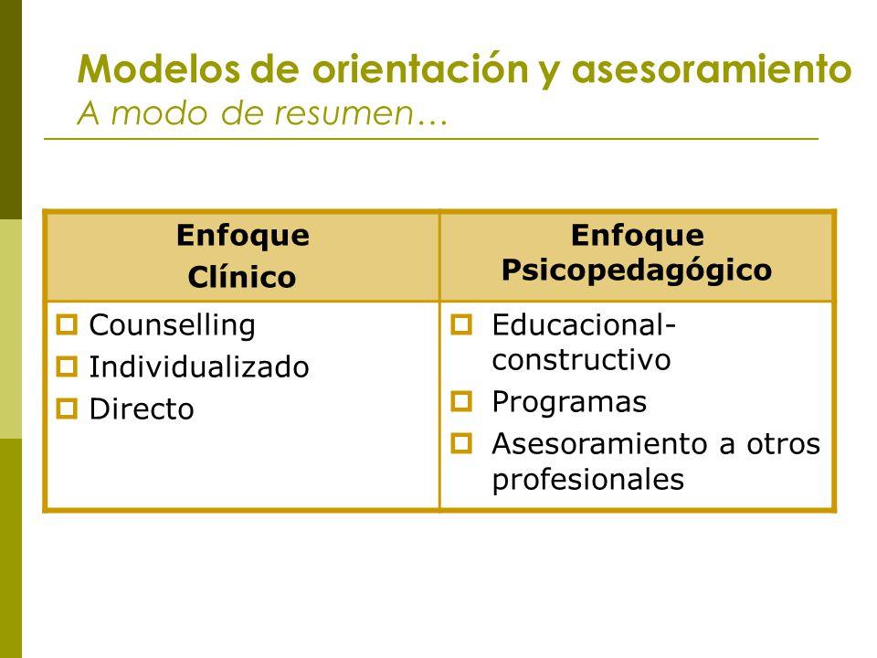Modelos de orientación y asesoramiento A modo de resumen… Enfoque Clínico Enfoque Psicopedagógico Counselling Individualizado Directo Educacional- con