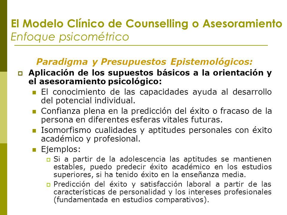 El Modelo Clínico de Counselling o Asesoramiento Enfoque psicométrico Paradigma y Presupuestos Epistemológicos: Aplicación de los supuestos básicos a