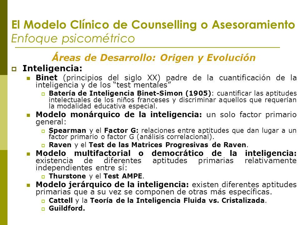 El Modelo Clínico de Counselling o Asesoramiento Enfoque psicométrico Áreas de Desarrollo: Origen y Evolución Inteligencia: Binet (principios del sigl