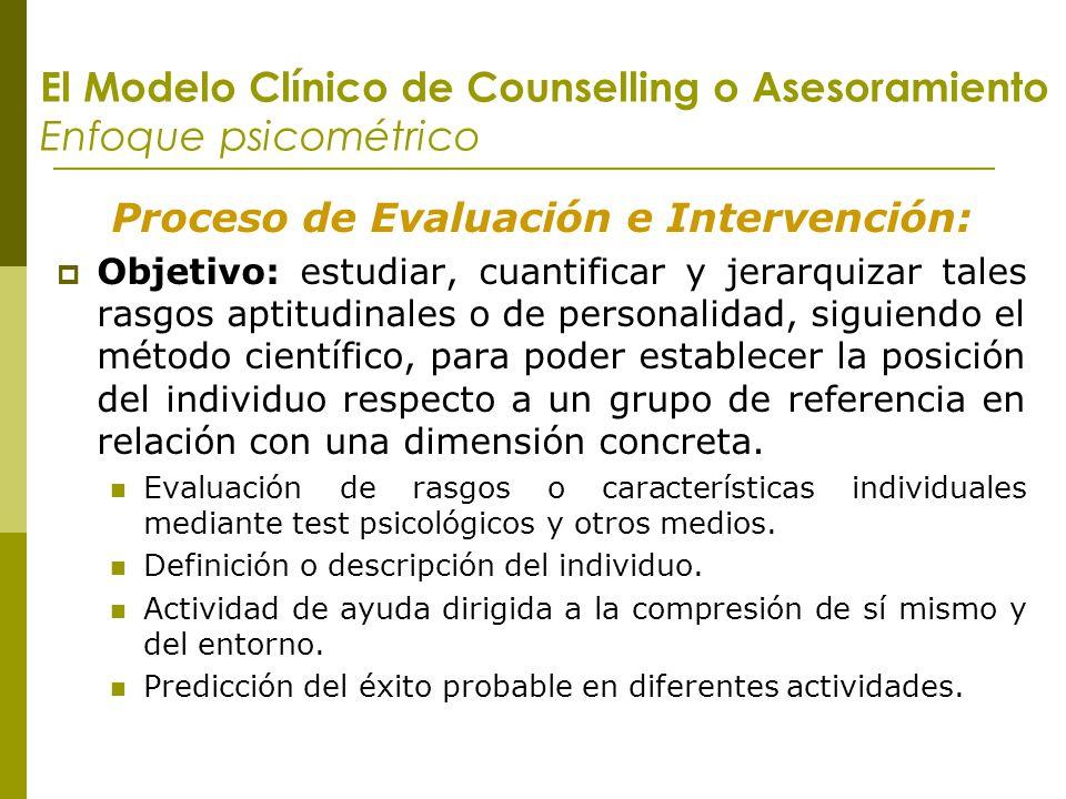El Modelo Clínico de Counselling o Asesoramiento Enfoque psicométrico Proceso de Evaluación e Intervención: Objetivo: estudiar, cuantificar y jerarqui