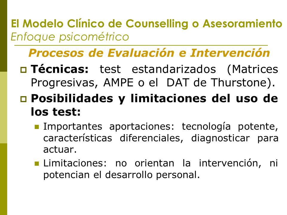 El Modelo Clínico de Counselling o Asesoramiento Enfoque psicométrico Procesos de Evaluación e Intervención Técnicas: test estandarizados (Matrices Pr