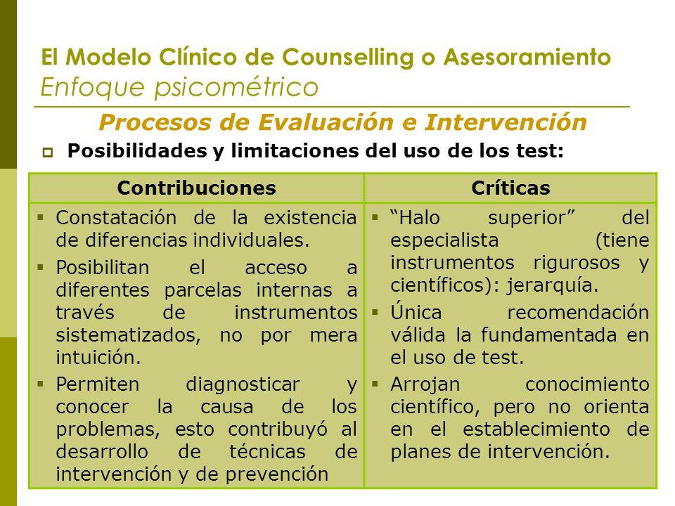 El Modelo Clínico de Counselling o Asesoramiento Enfoque psicométrico Procesos de Evaluación e Intervención Posibilidades y limitaciones del uso de lo