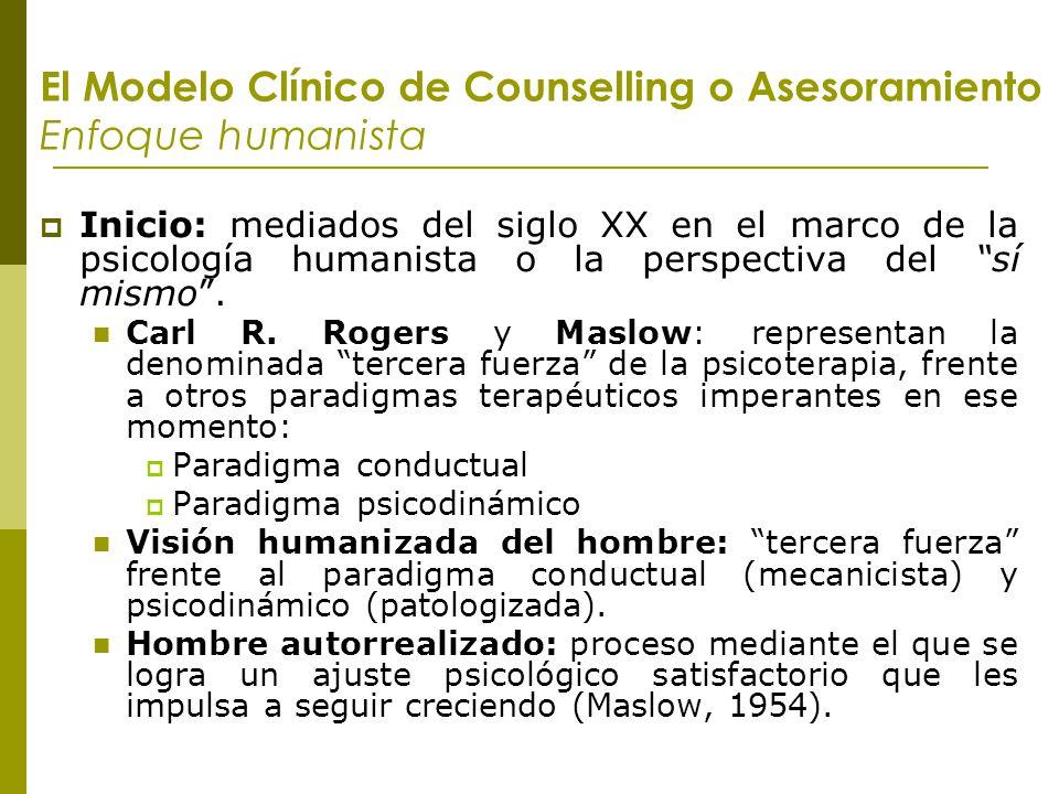 El Modelo Clínico de Counselling o Asesoramiento Enfoque humanista Inicio: mediados del siglo XX en el marco de la psicología humanista o la perspecti