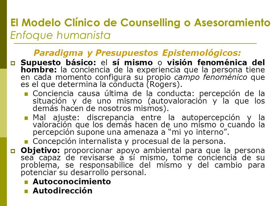 El Modelo Clínico de Counselling o Asesoramiento Enfoque humanista Paradigma y Presupuestos Epistemológicos: Supuesto básico: el sí mismo o visión fen