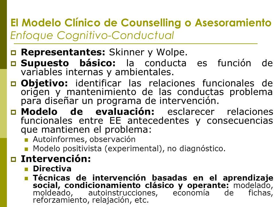 El Modelo Clínico de Counselling o Asesoramiento Enfoque Cognitivo-Conductual Representantes: Skinner y Wolpe. Supuesto básico: la conducta es función