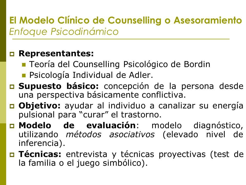 El Modelo Clínico de Counselling o Asesoramiento Enfoque Psicodinámico Representantes: Teoría del Counselling Psicológico de Bordin Psicología Individ