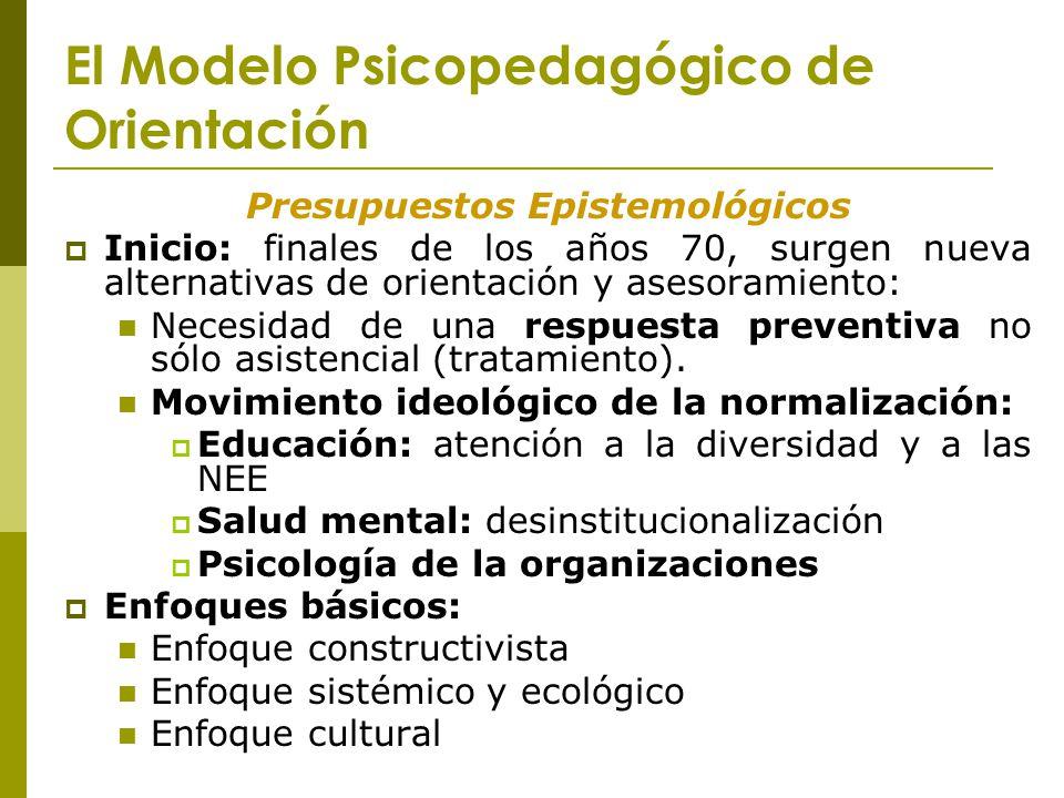 El Modelo Psicopedagógico de Orientación Presupuestos Epistemológicos Inicio: finales de los años 70, surgen nueva alternativas de orientación y aseso