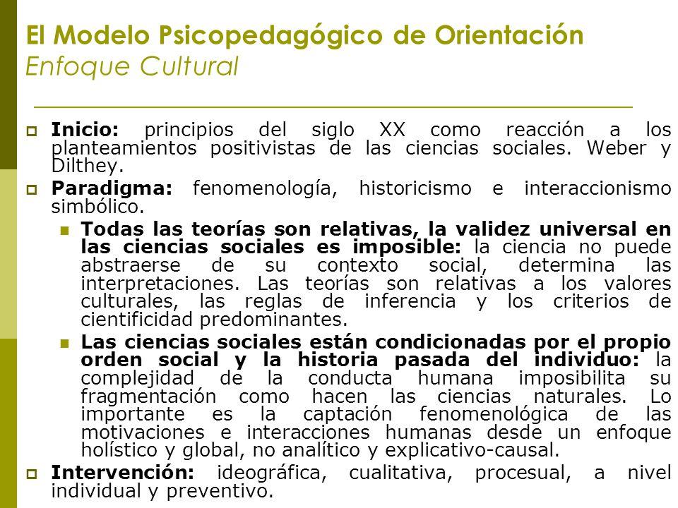 El Modelo Psicopedagógico de Orientación Enfoque Cultural Inicio: principios del siglo XX como reacción a los planteamientos positivistas de las cienc
