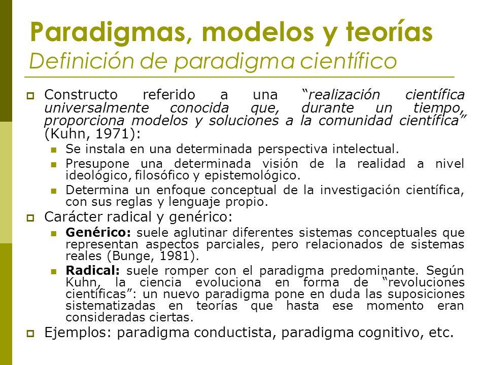 Paradigmas, modelos y teorías Definición de paradigma científico Constructo referido a una realización científica universalmente conocida que, durante