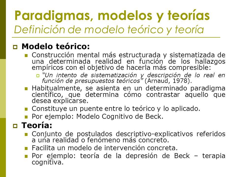 Paradigmas, modelos y teorías Definición de modelo teórico y teoría Modelo teórico: Construcción mental más estructurada y sistematizada de una determ