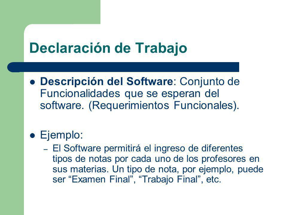 Declaración de Trabajo Descripción del Software: Conjunto de Funcionalidades que se esperan del software. (Requerimientos Funcionales). Ejemplo: – El