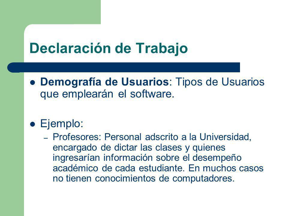 Declaración de Trabajo Demografía de Usuarios: Tipos de Usuarios que emplearán el software. Ejemplo: – Profesores: Personal adscrito a la Universidad,