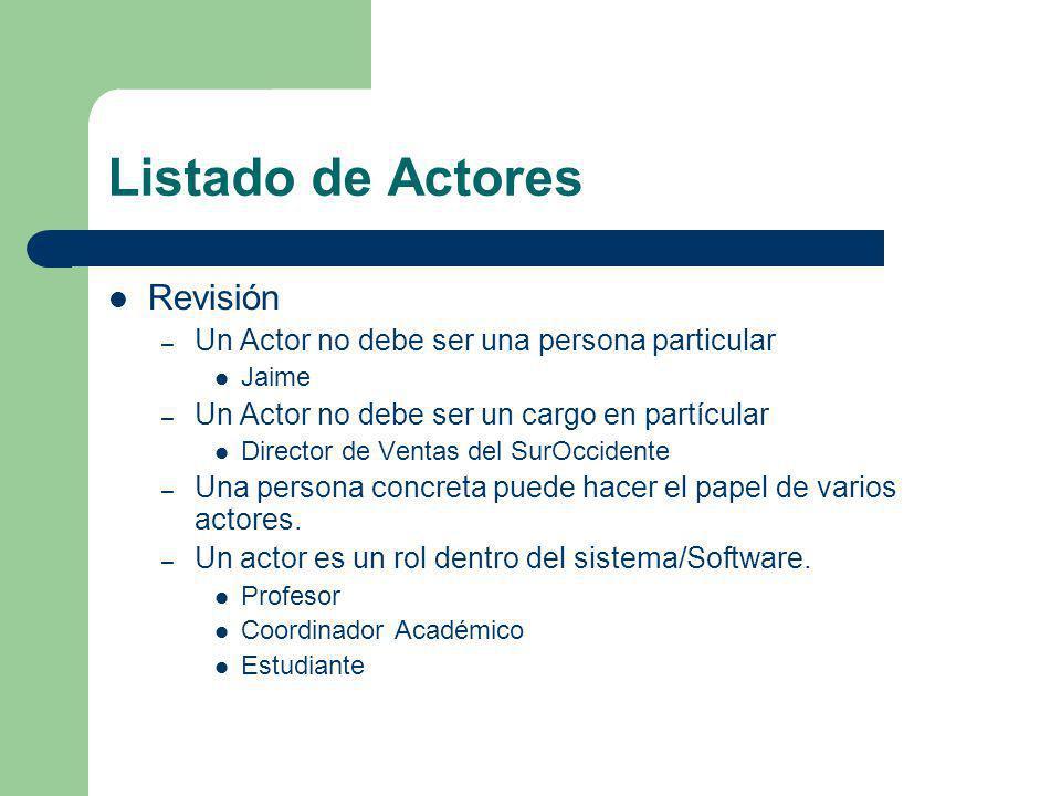 Listado de Actores Revisión – Un Actor no debe ser una persona particular Jaime – Un Actor no debe ser un cargo en partícular Director de Ventas del S