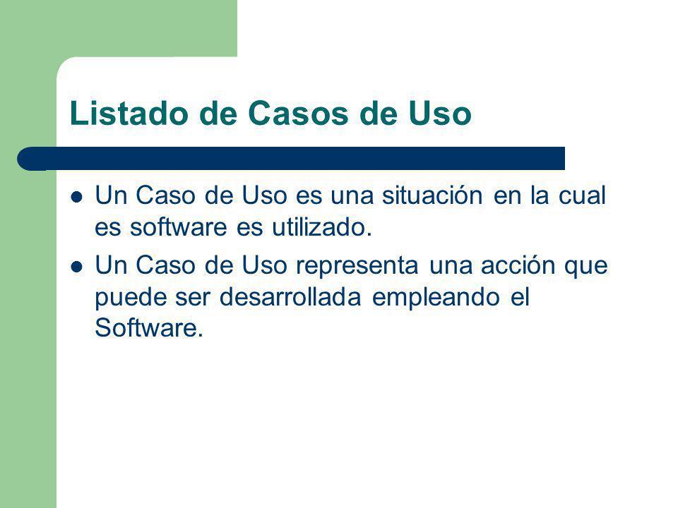 Listado de Casos de Uso Un Caso de Uso es una situación en la cual es software es utilizado. Un Caso de Uso representa una acción que puede ser desarr