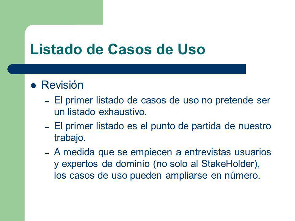 Listado de Casos de Uso Revisión – El primer listado de casos de uso no pretende ser un listado exhaustivo. – El primer listado es el punto de partida