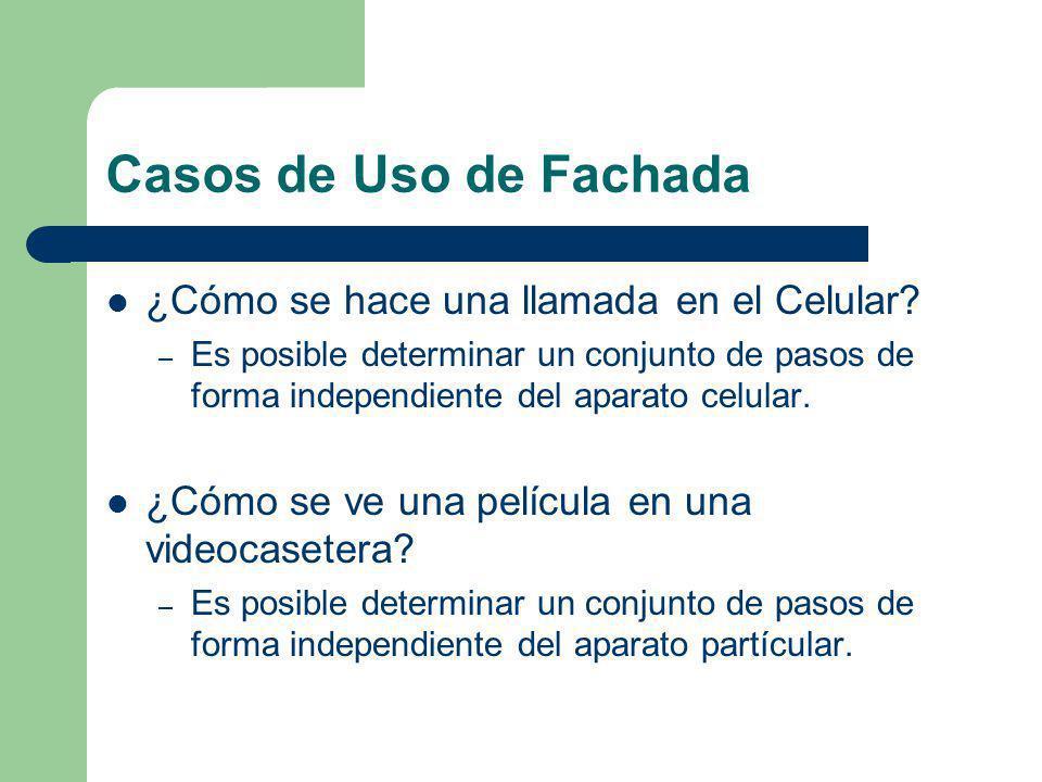 Casos de Uso de Fachada ¿Cómo se hace una llamada en el Celular? – Es posible determinar un conjunto de pasos de forma independiente del aparato celul
