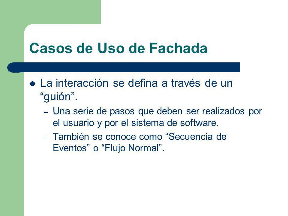Casos de Uso de Fachada La interacción se defina a través de un guión. – Una serie de pasos que deben ser realizados por el usuario y por el sistema d