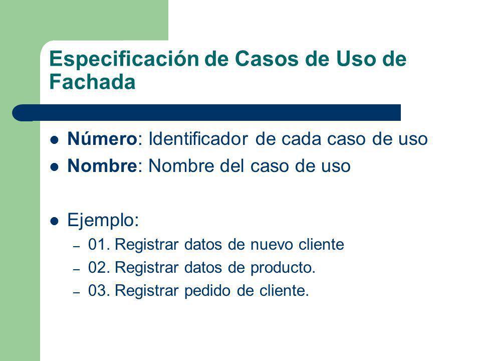 Especificación de Casos de Uso de Fachada Número: Identificador de cada caso de uso Nombre: Nombre del caso de uso Ejemplo: – 01. Registrar datos de n
